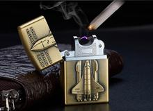 Gold Vintage Retro Cigarette Lighter USB Gadgets Charging Pulse Arc Metal Electronic  Flameless Cigar Lighters For Men Gift