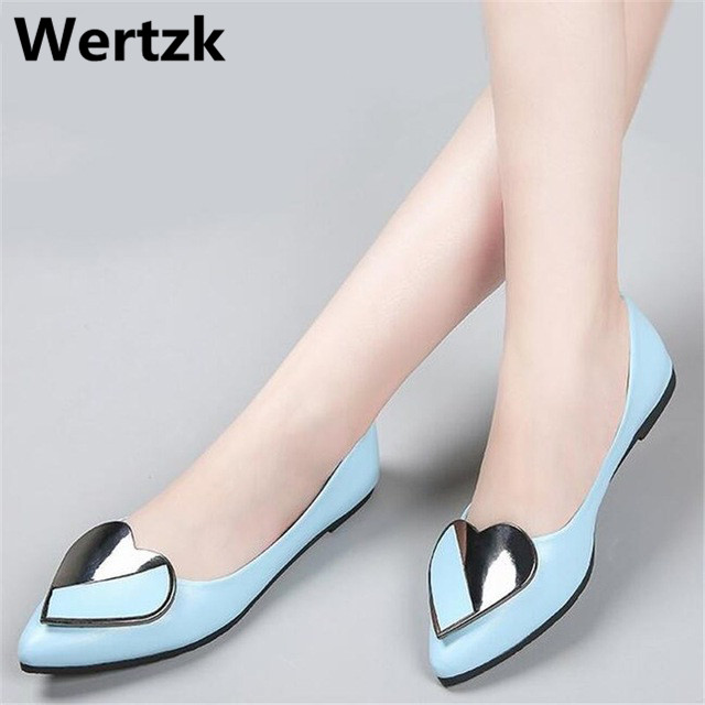 Wertzk 2018 New Fashion Heart decoration Spring Women Flats Shoes Ladies Bow pointed Toe Slip-On Flat Womens Shoes T41Wertzk 2018 New Fashion Heart decoration Spring Women Flats Shoes Ladies Bow pointed Toe Slip-On Flat Womens Shoes T41
