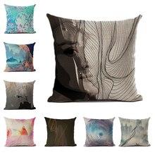Abstract Cushion Cover Nordic Art Pillowcase Decorative Pillow Car Color Sofa Bedroom Set Case