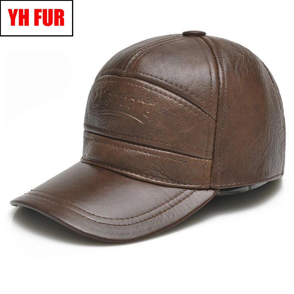 Hat Baseball-Caps Real-Cowhide New-Style Brand Casual Men Ear-Protection-Cap