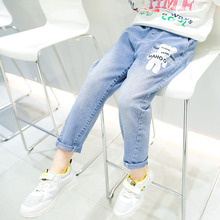 Casual Cute Elastic Jeans for Kids Girls Korean Spring Baby Clothes Cartoon Bear 13 Years Denim Trousers