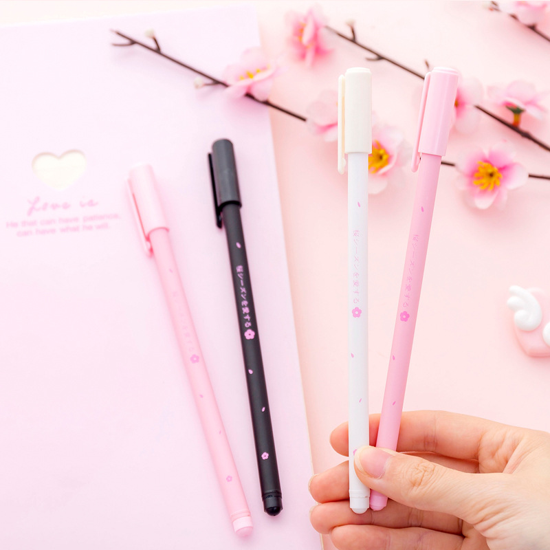 3 Pens/set Sakura Gel Pens Cute Cherry Blossom Black Ink Promotional Stationery School & Office Writing Supplies Kawaii