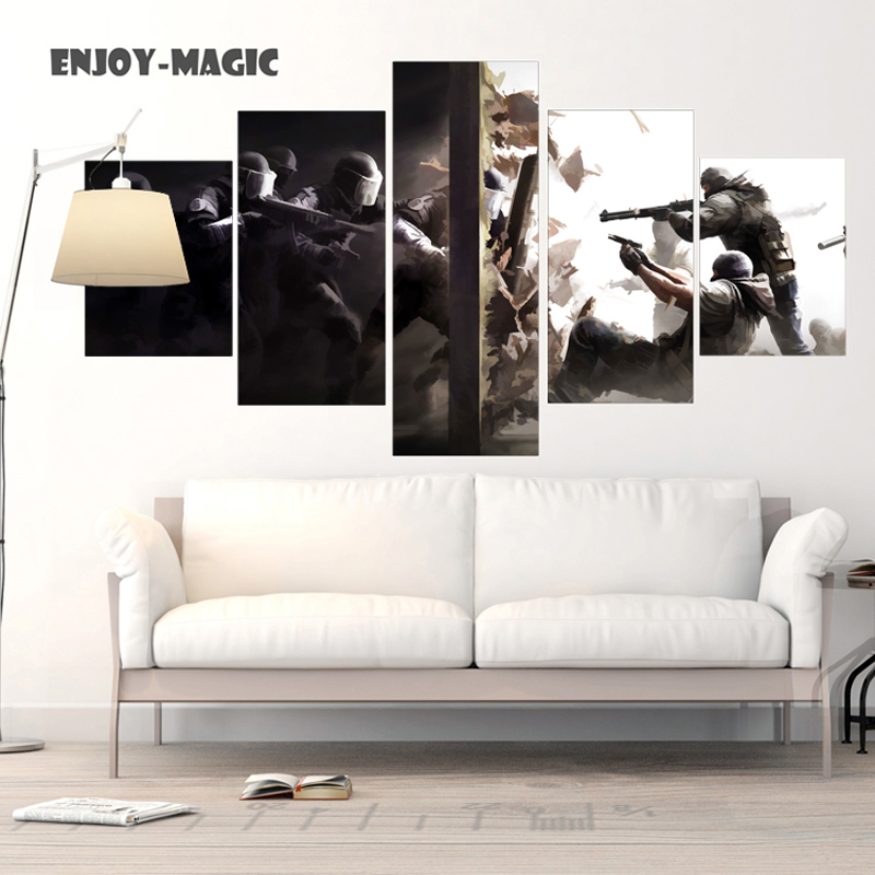 Home decor canvas poster rainbow six siege painting wall for How to canvas art