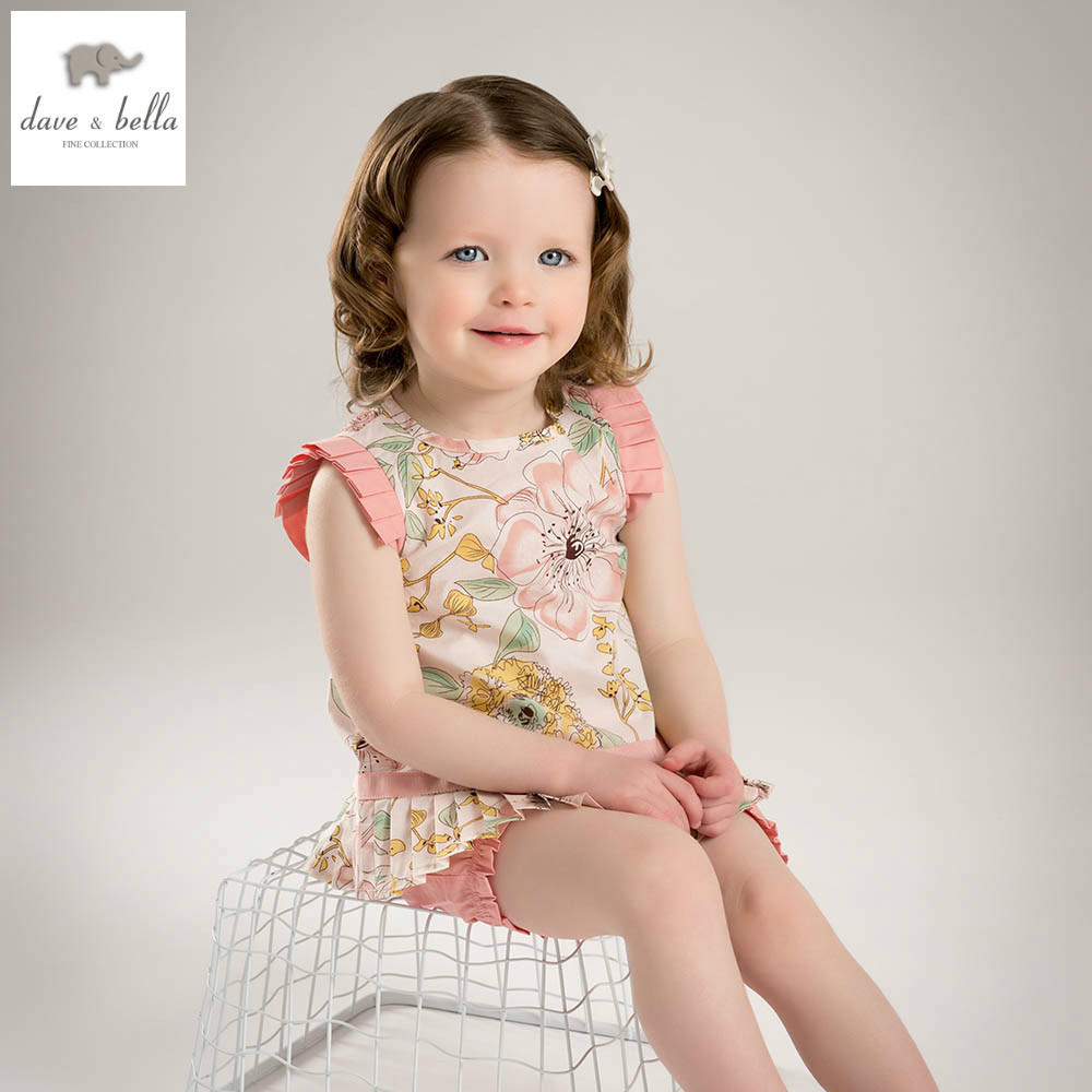 DB5221dave bella summer baby girls pink floral clothing sets child pink  set infant clothes  kids sets baby boutique clothes