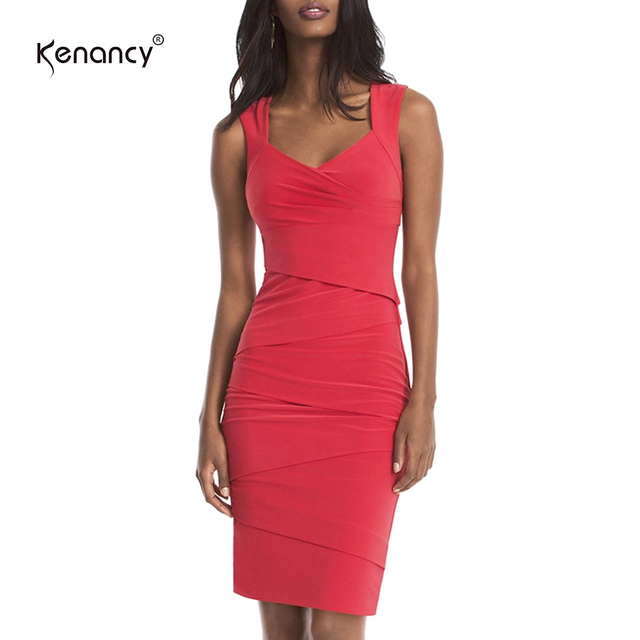 Kenancy Clearance 4xl Plus Size 3 Colors Sexy V Neck Bodycon Bandage