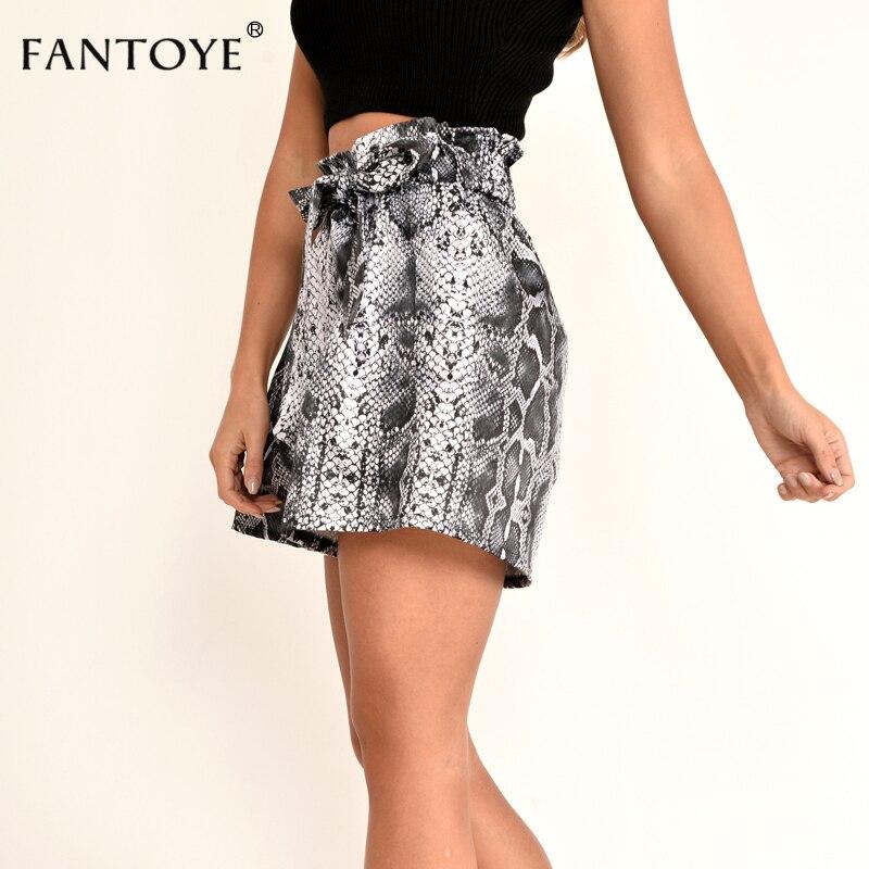 Snake Print High Waist Shorts Women Autumn Paper Bag Sexy Elegant Fashion Lace Up Ruffle Mini Ladies Shorts Skirts 26