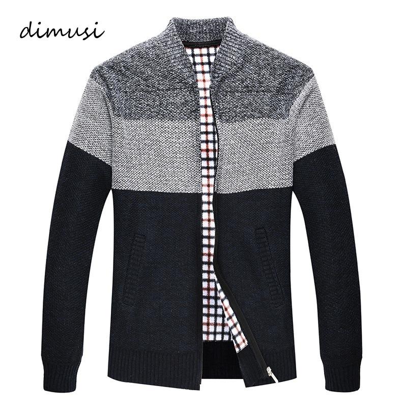 DIMUSI Autumn Winter Men's Sweater Coats Faux Fur Wool Sweater Jackets Men Zipper Knitted Thick Coat Casual Knitwear 3XL,TA311