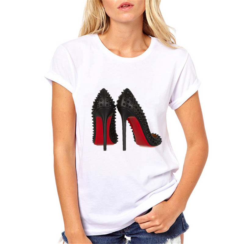 New Fashion High Heels Print Funny Summer T Shirt For Women Vogue White Tee Tops