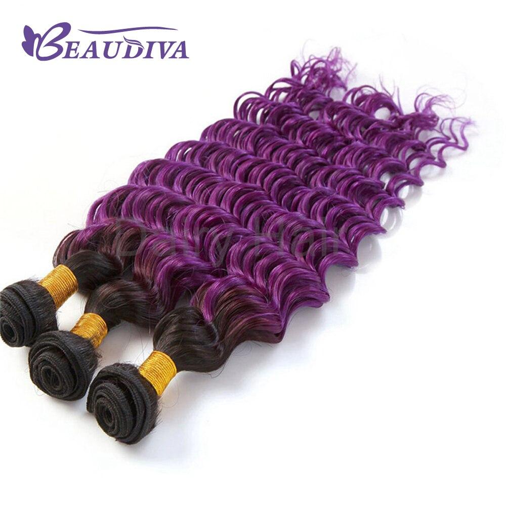 BEAUDIVA Pre-Colored Deep Curly Wave Ombre Color Brazilian Remy Human Hair Weave 1B/4/Purple 3 Tones 3 Bundles Ombre Human Hair