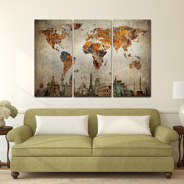 Canvas painting frame 3 panel world map art poster wall picture home canvas painting frame 3 panel world map art poster wall picture home decor print on canvas gumiabroncs Images