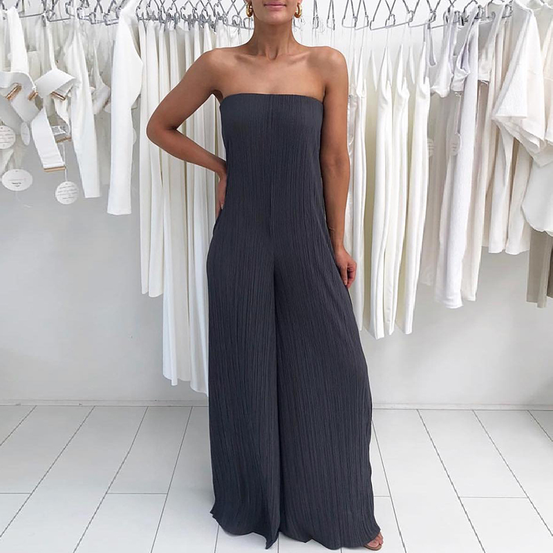 New Fashion Summer Women Boot Cut Solid Stylish Bandeau Jumpsuit Sexy Solid Pleated Strapless Wide Leg Jumpsuit ...