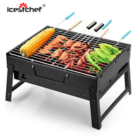 ICESTCHEF Portable Barbecue Grill For Outdoor Foldable Charcoal Barbecue Grill Camping Picnic Travel BBQ Tools Accessories