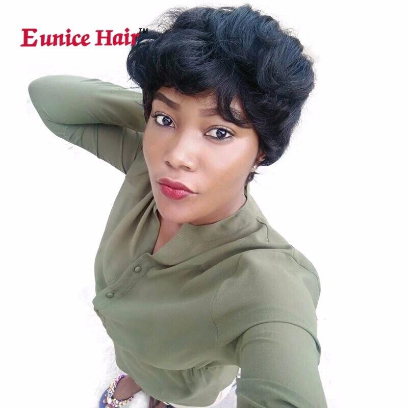 Euniceผม6นิ้ว28ชิ้น/แพ็คสังเคราะห์ผมสานตรงกับสีบลอนด์Weftsคู่สั้นแอฟริกาขยายสีดำ/สีน้ำตาล/99Jสี