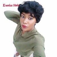 Eunice 6 pulgadas 28 unids/pack Pelo Sintético Recto de la Armadura del pelo Con El Pelo Rubio Extensión Afro Tramas Dobles Corto negro/marrón/99J colores