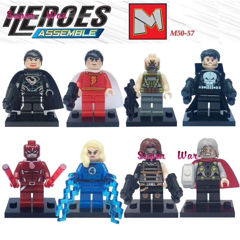 50pcs superhero Punisher <font><b>Invisible</b></font> <font><b>Woman</b></font> Daredevil Bane building blocks action bricks friends for girl kids children toys