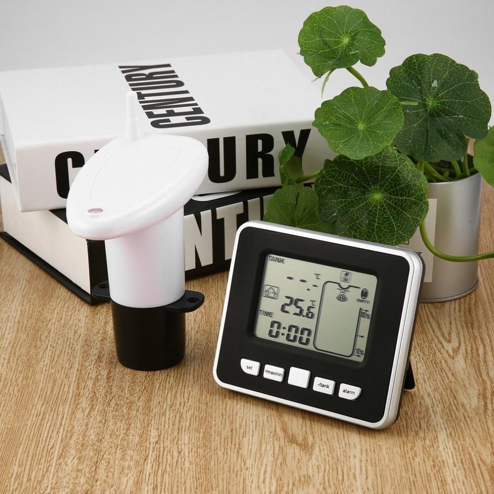 1 pièces ultrasonique sans fil de mètre de niveau de profondeur de liquide de réservoir d'eau avec l'affichage de la température avec l'affichage de LED de 3.3 pouces livraison directe