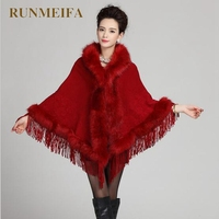 [RUNMEIFA] Cardigan Women 2016 Autumn Winter Fringe Poncho Women Sweater With Fur Tassel Knitted Cardigan cope
