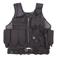 Tactical Paintball Military Swat Vest Heavy Duty Molle Assault Shooting Hunting Vest Combat Soft Vest With Holster