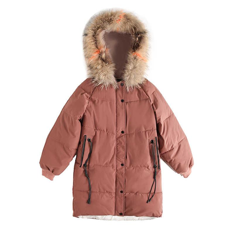KUYOMENS 2018 الشتاء النساء مقنعين معطف الفراء طوق رشاقته الدافئة طويلة سترة المرأة معطف الفتيات طويلة ضئيلة كبيرة الفراء معطف سترة