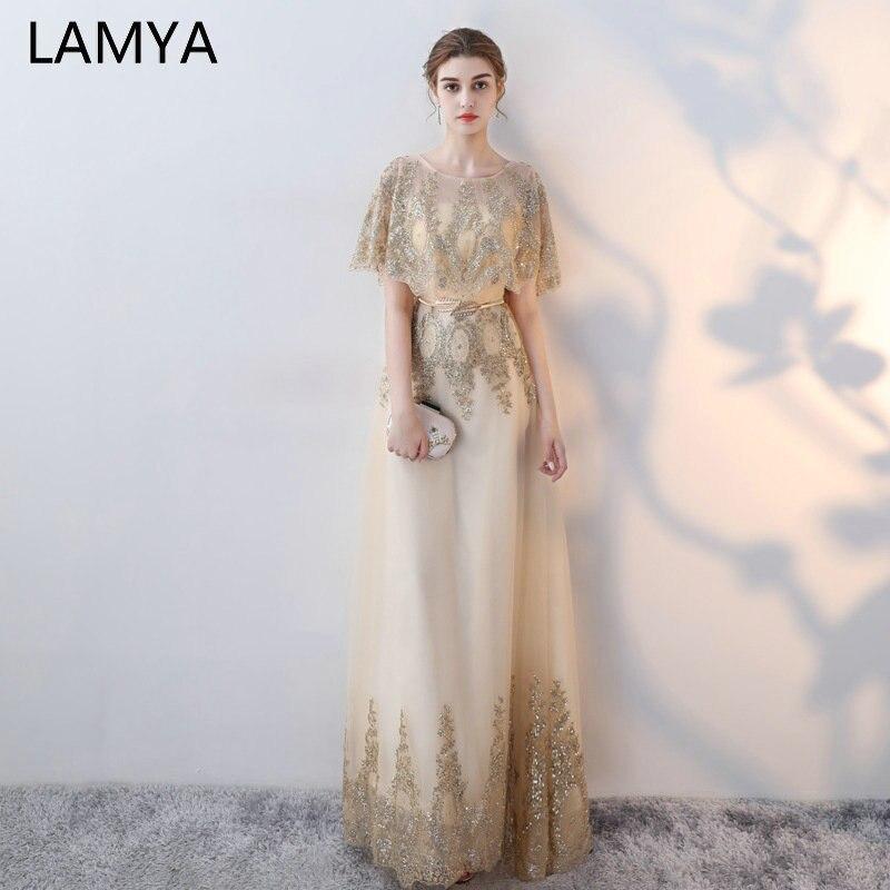 LAMYA luxe or longues paillettes robes de soirée 2019 O cou étage longueur bal robes de soirée Cap manches Robe formelle Robe de soirée
