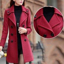 Winter Long Overcoat Women Wool Trench Pockets Double Breasted Solid Slim Elegant Outwear Female Coat