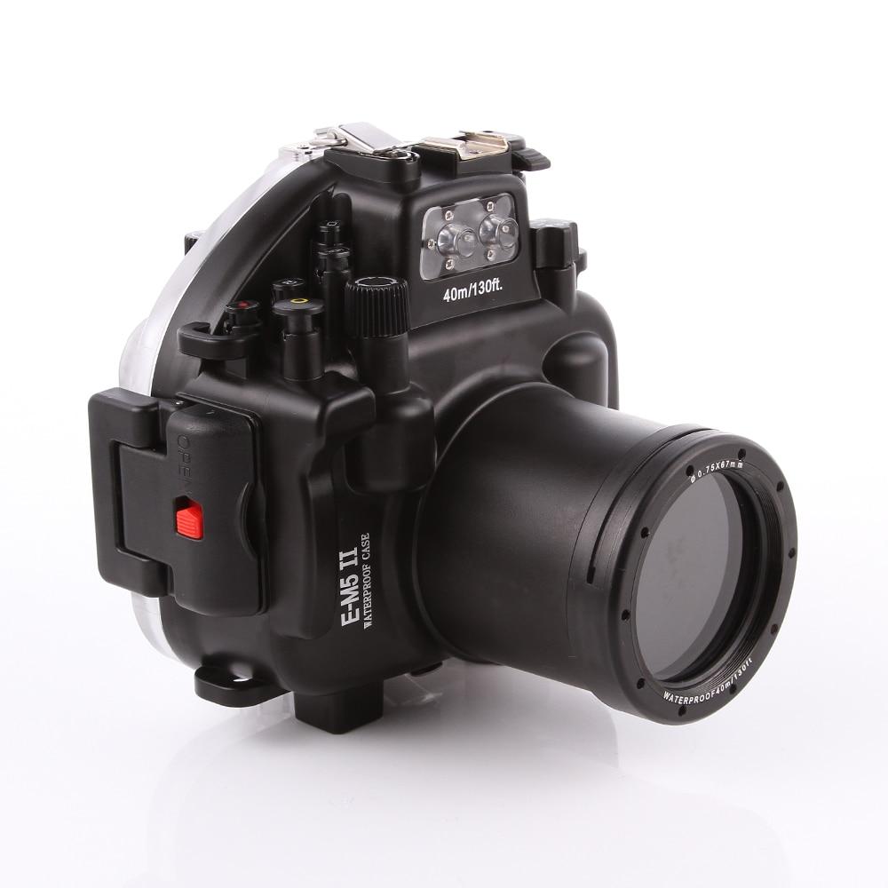 40M 130ft Waterproof Underwater Diving Camera Housing Case for Olympus O-MD E-M5 Mark II OMD EM5II + 12-50 f/3.5-6.3 Lens