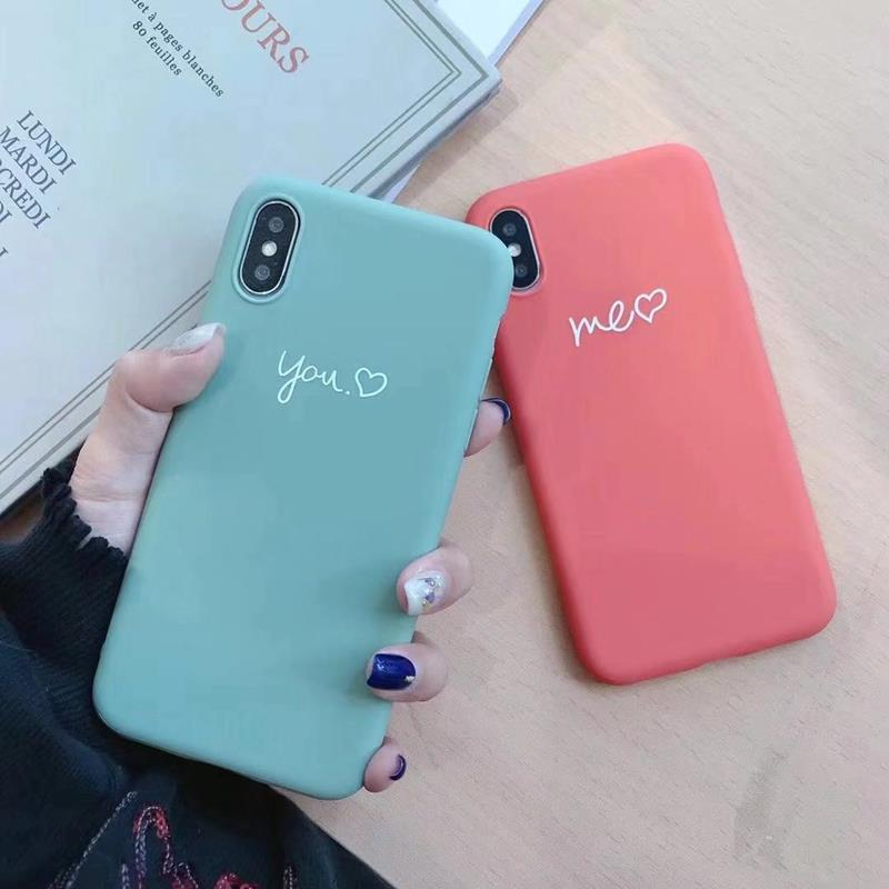 Cute Matcha green Couple Letter Me you Case For iPhone XS MAX XR X Case Soft Candy Phone Case For iPhone 7 8 6 S 6s plus cover (5)