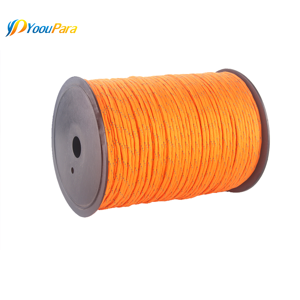 Image 4 - 10 Colors 1000FT Spools Reflective Paracord Rope 7 Strands For Camping Outdoor Survival Equipment DHL Free 12pcs/lot WholesaleParacord   -