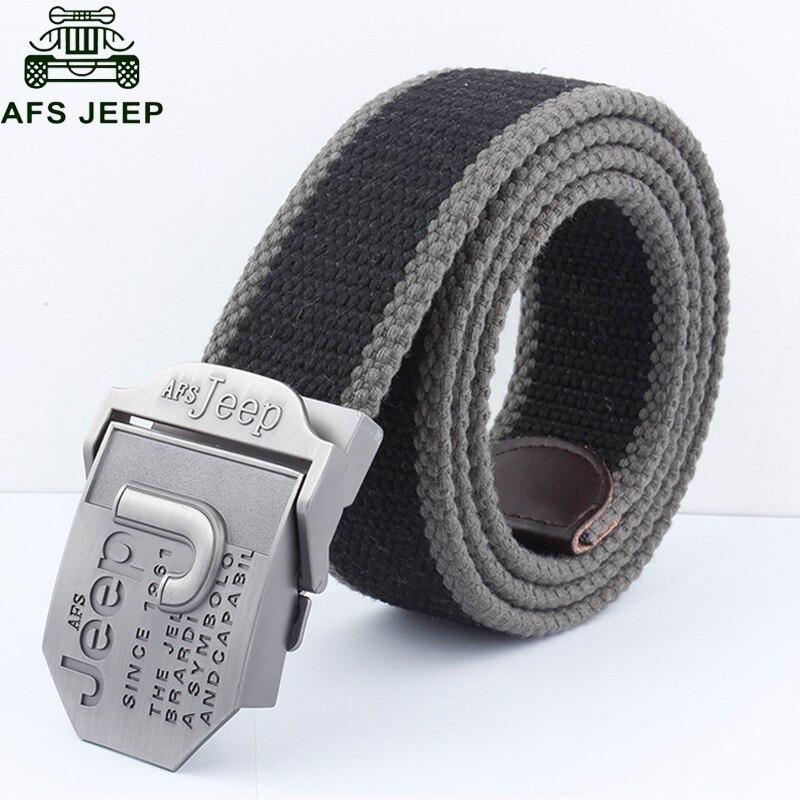 AFS JEEP Brand Mens Belt Luxury Designer Canvas Belts Hombre Military Men's Jeans Belts Ceinture Homme Cinto 110cm 140cm