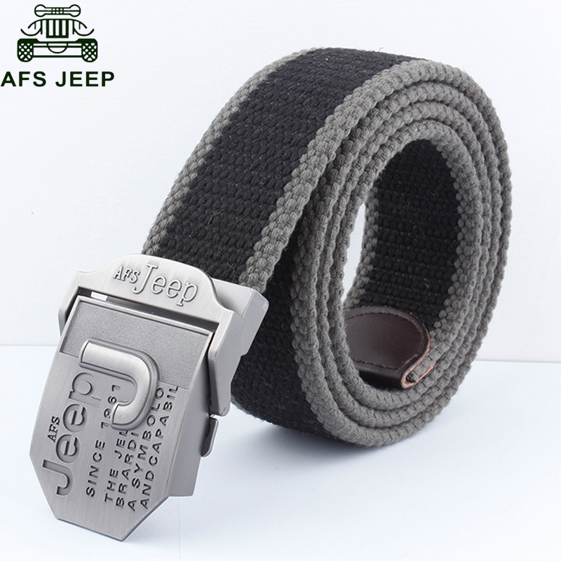 AFS JEEP Brand Mens Belt Luxury Designer Canvas Belts hombre Military Men's Jeans Belts Ceinture Homme Cinto 110cm 140cm
