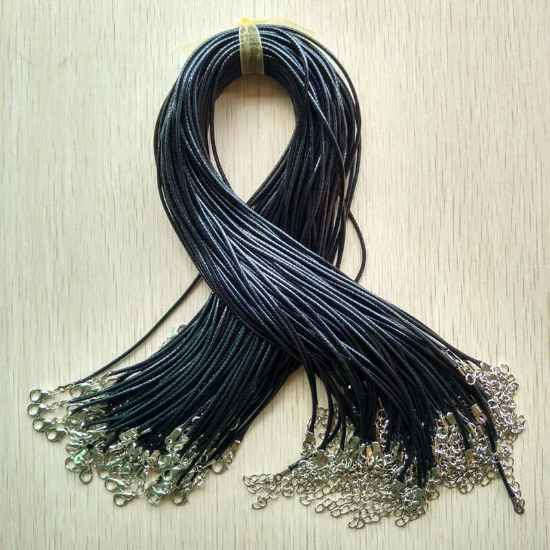 Wholesale 100pcs/lot 1.5mm black Wax Leather cord rope necklaces 45cm with Lobster clasp jewelry for diy pendants free shipping