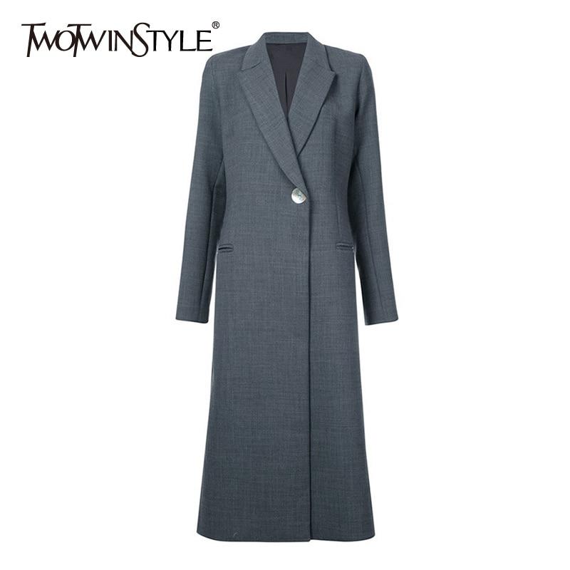 TWOTWINSTYLE Black X Long Women s Suit Jacket Female Lapel Long Sleeve Single Button Back Split