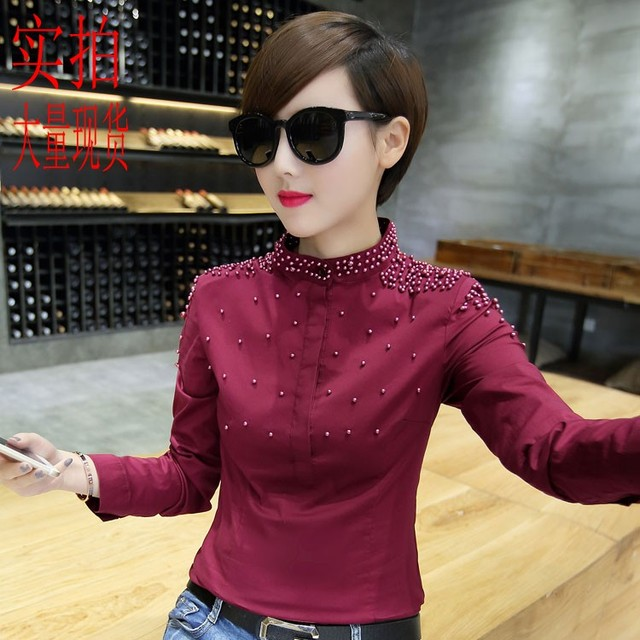 Plus Size New Women Shirts Slim Sewingads Pure Cotton Blouse Shirt Black Wine Red 9067