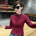 Plus Tamaño de Las Nuevas Mujeres Adelgazan Las Camisas Sewingads Puro Algodón Camisa de La Blusa Negro Rojo de Vino 9067
