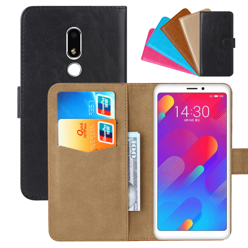 Luxury Wallet Case For Meizu M8 Lite (V8) PU Leather Retro Flip Cover Magnetic Fashion Cases Strap