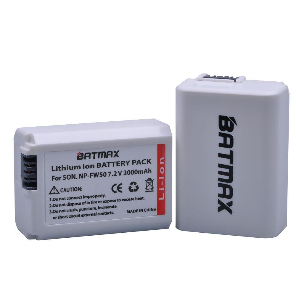 Batmax 2 Unid 2000 mAh NP-FW50 NP FW50 NPFW50 batería para Sony a37 a5100 NEX5T NEX5R X-7 NEX6 NEX-5N NEX5C NEX3N NEX3CV a33 a35 a37