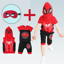 2016 Hoodies + T Shirt + Shorts 3Pcs. New Spider Man Children Clothing Sets Kids American Cartoon Television Set Se2