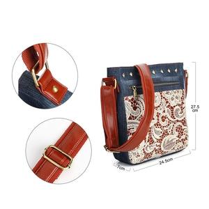 Image 2 - Floral Lace Denim Womens Shoulder Bags with Rivets Fashion Purse Bag Jeans Denim Crossbody Bags Women Messenger Bags