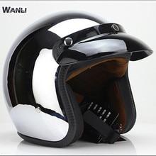 Brand for WANLI Open Face Motorcycle Helmet Vintage Motorbike Helmet Chopper Style Retro Helmets for silver face helmet S XXl цена