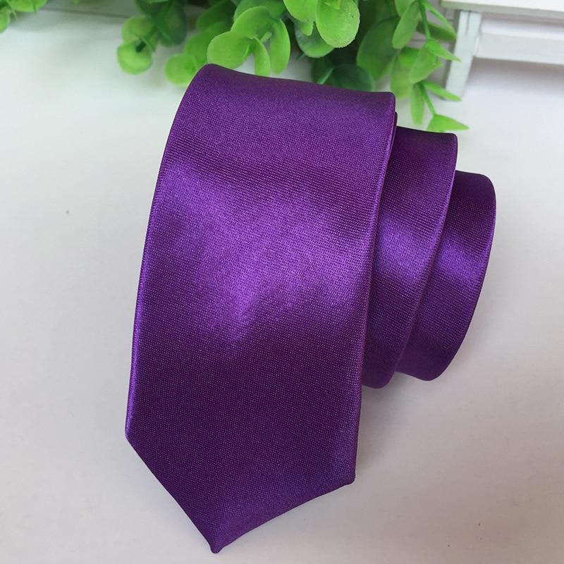 Ties Solid Dark PURPLE Color Necktie Stage Performance  Bright Version 5cm Narrow Tie