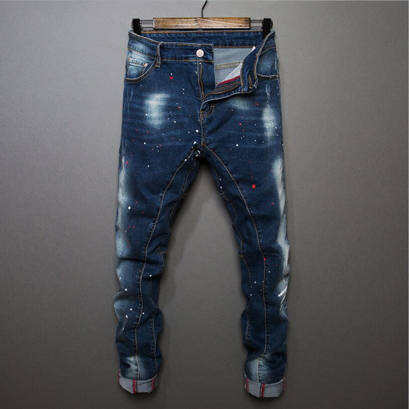 Good Quality Men's Slim Denim Jeans Stretch Blue Jean Pants New Fashion Male Skinny Slim Long Jeans Size 38