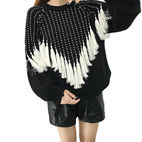 Women Bat Sleeve Tassel Sweater 2018 New Spring Autumn Loose Sweater Thickened Warm O Neck Knitted