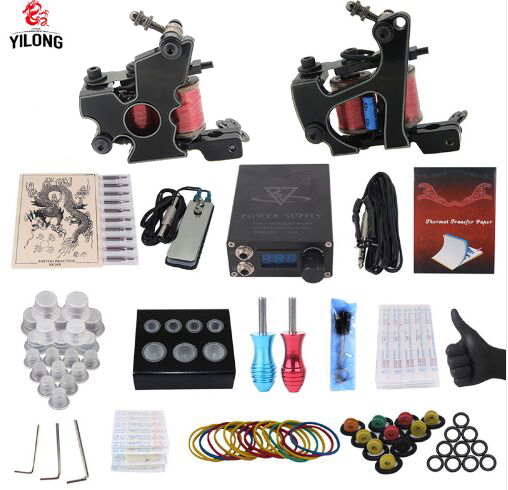 YILONG Professional Complete Tattoo Kit 2 Top Machine Gun 10 tattoo tips 10 Needle Power Supply yilong yilong lcd dual tattoo machine gun power supply