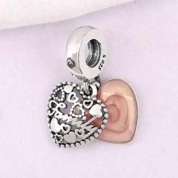 Nuovo 925 Silver Bead Branello di Fascino Dello Smalto di Colore Rosa Amore Rende una Famiglia Con il Pendente Di Cristallo Fit Pandora bracciali FAI DA TE gioielli