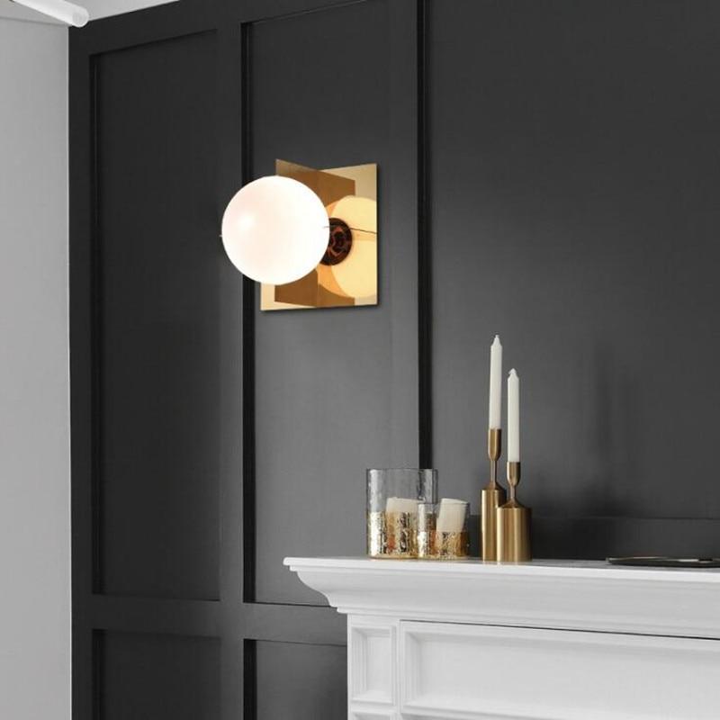 Nordic Post Modern Fashion Luxury LED Wall Lamp Simple Living Room Glass Hanging Wall Lights Bedroom Restaurant Decor Lighting цена 2017