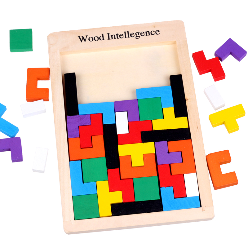 Wooden 3D Puzzle Jigsaw Toys For Children Tetris Game Puzzles Intelligence Kids Children Educational Toy