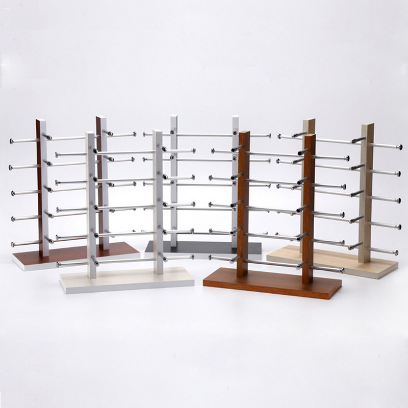 Double Wood 5 Colors Glasses Display Rack Display Holder 10 Vice Shape Display Stand Sun Glasses Display Holder Rack/Shelf