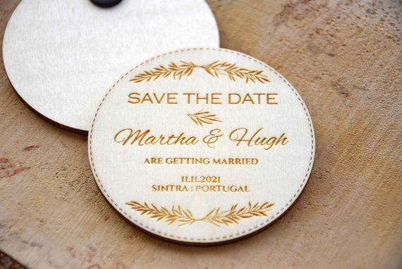 Cute Creative Save the Date Magnets, Custom Affordable Magnet Save the Dates,Rustic Destination Save the Dates, Wooden Fall Save