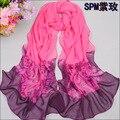 Nueva primavera de la moda sensación de la bufanda chal de gasa bufanda de seda de las mujeres de gradiente de colores delgado largas bufandas al por mayor