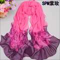 spring new fashion scarf women  silk feeling scarf chiffon shawl gradient colors thin long scarves wholesale